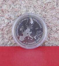 """Pièce 1er janvier 2002 Naissance de l'EURO en Cupronickel plaqué argent """"Essai"""""""
