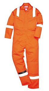 Flame Resistant Antistatic Coverall Boilersuit Knee Pad Pockets XS - 5XL FR50