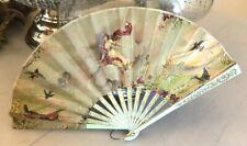 Antique Victorian Hand Fan birds goddess vanity french vtg
