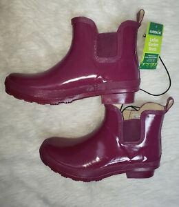 Gardenline Rubber Rain Ladies Garden Boots Purple Maroon Size 9 Booties