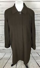 Gallery Woman's Long Overcoat Trench Coat Brown Removable Button Lining Sz S/CH
