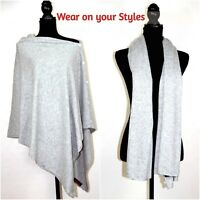 Ladies Cashmere Poncho Cape Wrap Pashmina Wool Sweater Jumper V-Neck One Size