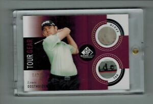 2014 SP GAME USED GOLF LOUIS OOSTHUIZEN TOUR GEAR GLOVE & SHIRT TAG 1/2 RARE