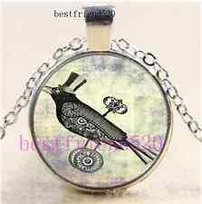 Steampunk Raven Photo Cabochon Glass Dome Silver Chain Pendant Necklace
