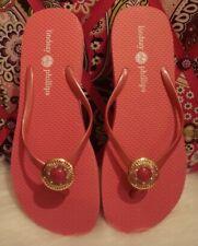 LINDSAY PHILLIPS Pink RUBBER Switch Flops SNAP CHARM FLIP FLOPS Ladies Sz 8