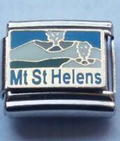 MOUNT ST. HELENS Usa 9mm Italian Charm Fits Classic Bracelet Link