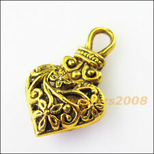 3 New Purse Heart Flower Antiqued Gold Tone Charms Pendants 19x31mm