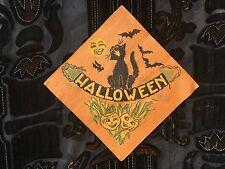 Vintage Reeds Black Cat Halloween Jack O Lantern Paper Napkin Nos
