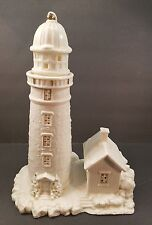 """Ceramic LightHouse White with Gold 11"""" tall 8"""" wide"""