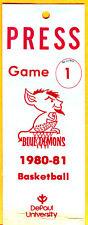 *OPENING DAY/GAME #1-1980/81 DUKE BLUE DEMONS BASKETBALL PRESS PASS VS. DEPAUL