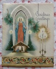 Vintage 1930s Deco Christmas Greeting Card Mary Church Nativity Scene Candles