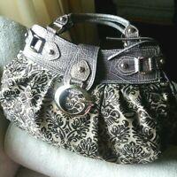 "GUESS HOBO Bag ""Tiki"" Handbag Paisley Logo Medallion Faux Reptile Trim Purse"