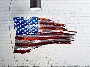 "Tattered American Flag Custom Metal Wall Art 24"""