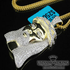 MEN'S NEW .925 STERLING SILVER YELLOW GOLD FINISH JESUS HEAD CHAIN NECKLACE SET