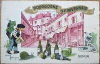 Gaston Marechaux/Artist-Signed 1945 Postcard: Bowling/SnailMustard - Bourgogne