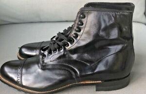 New STACY ADAMS Men's Madison Patent Black Cap Toe Leather Boots Sz 10D $135