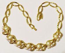 collier bijou vintage déco ajouré perle nacré blanche et rosé couleur or * 3354