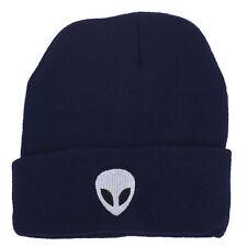Black Alien Beanie Hat Lux Accessories Navy Blue White