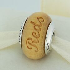 Authentic Pandora USB790705-G007 Cincinnati Reds Baseball Wood Bead Charm