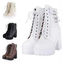 Women's Rivet Gothic Ankle Boots Lace-up Platform Punk Motor Riding Boots 34-43