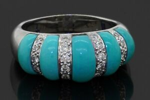 Heavy 14K WG high fashion .40CTW diamond & turquoise cocktail ring size 7.5