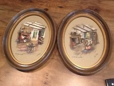 Antique Oval Wood Plaque Paul Porter Prints, Old Spinning Wheel & Home By Hearth