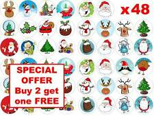 48 x 3cm Father Christmas Xmas Santa Edible Fairy Cup Cake Toppers Decorations