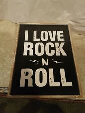6×8 I Love Rock N Roll wood Plaque. New