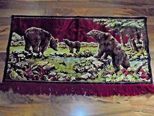 Bears by Stream Wildlife Nature Forest Velvet Velour Tapestry Wall Hanging Decor
