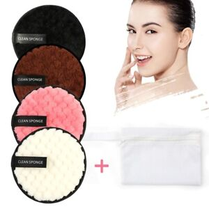 Microfiber Reusable Makeup Remover Pads Face Puff Facial Cleaning Cotton Wipes