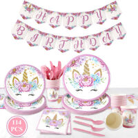114PC Paste Unicorn Tableware Cute Girl Birthday Gift Party Supply Decorations
