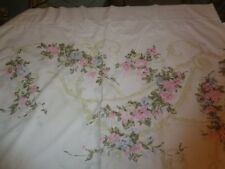 Vintage White TWIN FLAT BED SHEET Cottage Chic Pink Roses Spray Sweet!