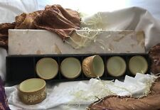 6 Partylite Boho Bamboo Style Clay Tea Light Candle Holders W/ Paper Meche' Box