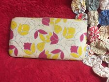 Neat Pink Red-Violet Yellow Cream & Silver Wallet Locking Button Unique Clutch