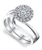 0.51 Ct Diamond Wedding Engagement Ring Set 14kt White Gold Size P Round Shape