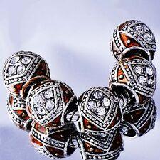 5pcs Silver CZ Brown Enamel charms beads Fit European Charm Bracelet