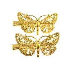 2 x small butterfly hair clips in gold tone