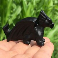 "2"" Natural obsidian fly dragon Carved Quartz Crystal Skull Reiki Healing 1pc"