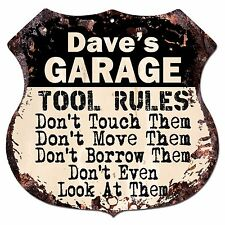 BPG0271 DAVE'S GARAGE TOOL RULES Shield Sign Man Cave Decor Funny Gift