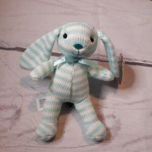"FAO Schwarz Blue/White Plush Bunny Rabbit Stuffed Animal Plushie Toy 4"" G305"