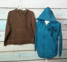 LOT OF 2 BIT & BRIDLE HIS, HERS HOODIES SIZE LARGE