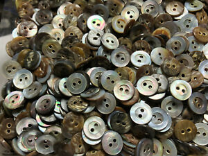 """50 Mother Of Pearl W/Rim Japanese Smoke Rainbow Shell Buttons 11/MM 7/16"""" 2hole"""
