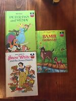 Walt Disney Lot Of 3 books Peter Pan, Snow White And Bambi