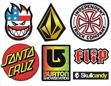 7 pegatinas Skate, Snow, Surf - SkullCandy, Spitfire, Burton, Volcom, Santa Cruz
