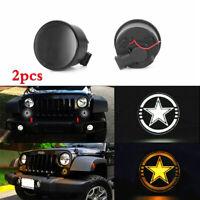 For 07-17 Jeep Wrangler JK White Amber LED DRL Turn Signal Lamp Smoked Lens 2pcs