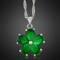 Xmas Wedding Jewelry Pear Green Emerald White Gold Plated Pendant Necklace Chain
