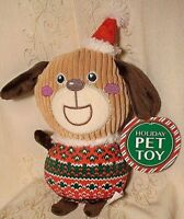 Holiday Time Dog Toy Christmas Themed Sweater Santa Hat Squeaky Puppy Plush 9""