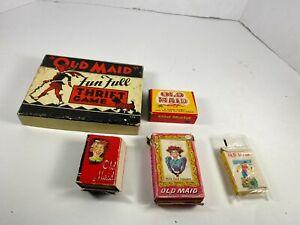 5 decks Vintage Old Maid Card Games LOT complete