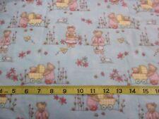 Beary Boys Girls Teddy Bear Cotton Flannel Fabric Blue 2.66 Yd L