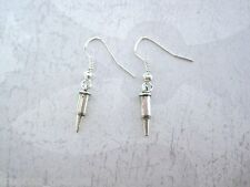 *LITTLE SILVER BULLET AMMO SHELL* SP Drop Earrings GIFT POUCH Gothic Steampunk